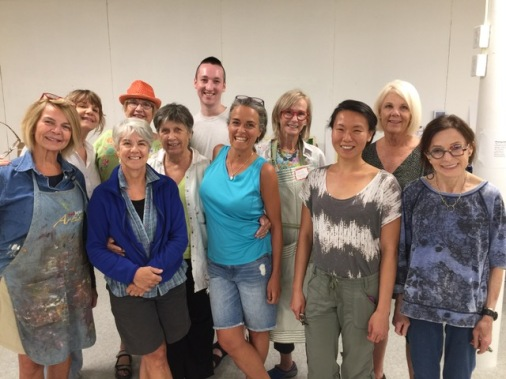 The 2018 Goetemann Distinguished Artist/Teacher Workshop class. Left to right: Kathy Archer, Terry Del Percio, Janice Brand (front), Carol St John (back), Yhanna Coffin, Nick Endicott, Loren Doucette, Pauline Runkle, Distinguished and Fabulous Teacher Kathy Liao, Barbara Moody, Susan Emmerson